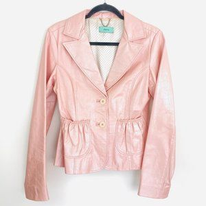 Doma Pink Leather Jacket Polka Dot Lining Large